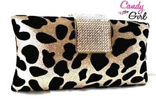 Gold & Black Glitter & Crystal Diamante Luxury Velvet Leopard Clutch