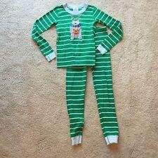 Hanna Andersson - Bold Stripe Pajamas w/ Reindeer - Green White - 140 - 10   DM