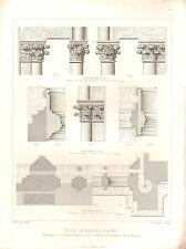1851 d'architectes français imprimer Church Cathedral Transept Chapiteaux colonnes plan
