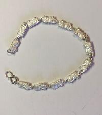 "Maneki Neko Japanese Lucky Cat Sterling Silver Bracelet 7"" NEW"