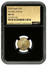 2020 1/10 oz Gold American Eagle $5 NGC MS70 FDI Black Core Gold Foil