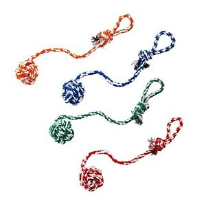 4 X Pet Dog (LARGE) Rope Braided Knot Ball Chew Fun Tough Strong Tug Play Toy UK