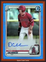 2020 Bowman Draft David Calabrese 1st Chrome RC Blue Refractor Auto /150 Angels