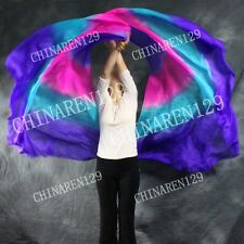 two pieces HALF CIRCLE BELLY DANCE 100% SILK VEIL Purple Pink blue Purple  999