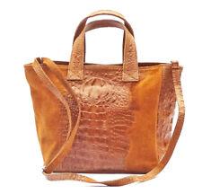 Italienische Damen echt Leder Tasche Handtasche cognac hellbraun Kroko