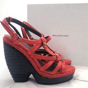 $700 NEW Balenciaga Ladies Red Leather Stud Platform Wedge Sandal Shoe Heel 38.5
