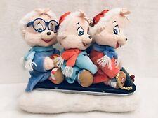 Singing Plush Chipmunks Christmas Sleigh ( No Movement) 12� x 10�