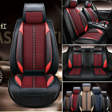 5-Seat Deluxe PU Leather &Ice Silk Black w/ Red  Front+Rear Car Seat Covers Mat