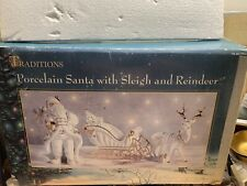 Traditions Large Porcelain Santa with Sleigh and Reindeer