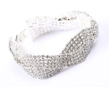 New in Box Silver Tone and Clear Rhinestone Twist Bracelet