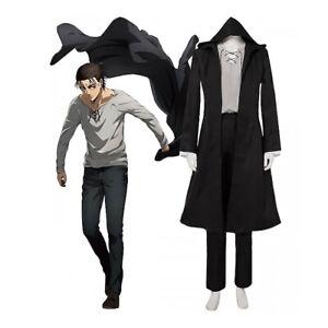 Anime AOT Eren Jager Cosplay Costume Black Jacket Pants Full Set Clothes