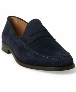$595 Ralph Lauren Purple Label Italy Mens Navy Samwell Penny Loafer Driver Shoes