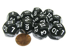 Set of 10 D12 12-Sided 18mm Opaque RPG Dice - Black with White Numbers