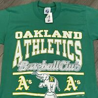 Oakland Athletics T Shirt Mens Medium Adult Green Vintage 90s MLB Baseball NWT