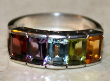 Beautiful 925 Sterling Silver Ring w/ 5 channel set multi- colored stones sz 6