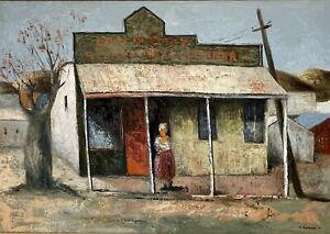 "Sali Herman - Stunning original oil painting ""Laundry Western Dry-Cleaner"""