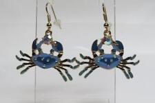 CG3805 - GOLD PLATED & ENAMELLED CRAB EARRINGS - FREE UK P&P