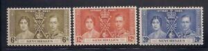 Seychelles  1937   Sc # 122-24   Coronation   MLH   (5037-)