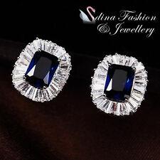18K White Gold GP Made With Swarovski Crystal Sunflower Sapphire Stud Earrings