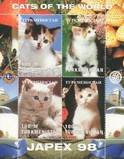 CATS FELINE HOUSE PET ANIMAL KINGDOM CUTE KITTENS JAPEX 1998 MNH STAMP SHEETLET