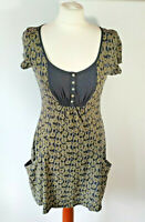 White Stuff Paperclip Floral Print Tunic Dress Navy Blue Pockets Buttons UK 8