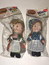 "Vintage HOLLY HOBBIE Clone Rag DOLLS MISSY Doll Lot of 2 7"" Cloth NIP NOS Hollie"