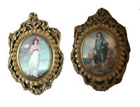 2 Vintage Wall Hanging Girl & Boy Plastic Oval Ornate Framed Bubble Glass Italy