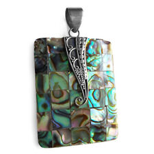 Natural Abalone Paua Shell 925 Solid Sterling Silver Rectangle Shape Pendant