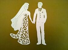 5 x TATTERED LACE BRIDE&GROOM DIE CUTS - WHITE -TOPPER / WEDDING / CARDS