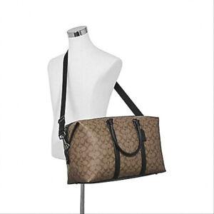 NEW! Authentic! COACH Trekker Signature Duffle Bag-Tan/Black F77922
