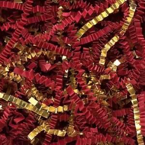 Crinkle Cut Paper Shred Gift Basket Filler - Metallic Gold & Red Blend Many size