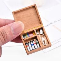 Dollhouse Miniature Artist Wood Paint Tool Box Pigment Home Decoration Toy 1:12