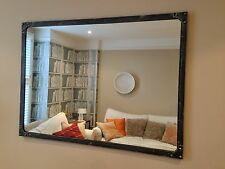 Large Mirror, artisan-style, Pewter colour