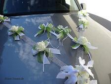 Autoschmuck, Autogirlande , Rosen creme/grün, Hochzeit, neu, zum Brautkleid