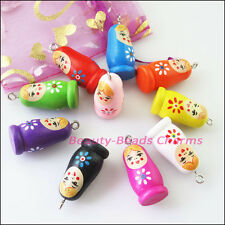 5Pcs Mixed Craft Wood Wooden Russian Doll Charms Pendants 16x35mm