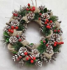 Pinecone Berry Hessian Christmas Wreath Festive Door Hanging Decoration