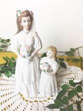 Homco Figurine 1405 Bride & Flower Girl Porcelain 8.25 The Bride's Day