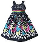 Robe Fille Marine Bleu Papillon Partie Princesse Enfant Vêtements 4-12 ans