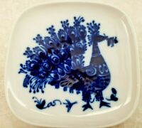Rosenthal Studio-Line Germany Blue Peacock Porcelain Plate Small Squarish