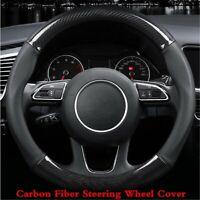 15 inch Carbon Fiber Stitching Steering Wheel Cover Black Non-slip Black 38cm BA
