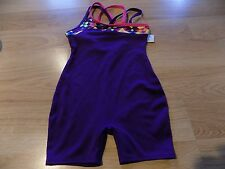 Size XS 4-5 Circo Deep Plum Purple Dance Gymnastics Unitard Leotard Pink Trim