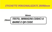 400 ETICHETTE ADESIVE PERSONALIZZATE BIANCHE 29X90mm  MONOCROMATICHE