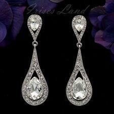 Rhodium Plated Clear Crystal Rhinestone Wedding Bridal Drop Dangle Earrings 8706