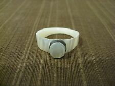 NATURAL SHELL HAND CARVING RING, ROUND SHAPE DESIGN TOP, RING SIZE 6.75