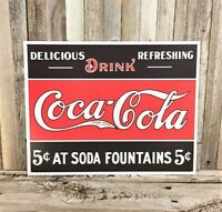 """Coke Delicious 5 Cents Tin Sign  #1619 16/"""" x 12.5  Metal"""