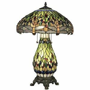 Tiffany Style 3 Light Table Lamp Dragonfly w/Green Yellow Stained Glass Lit Base