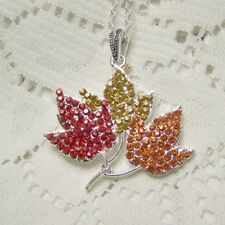 Autumn Leaves Necklace, Maple Leaves Pendant, Red, Gold, Orange, Thanksgiving
