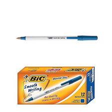 12 PCS BIC Round Stic 1.0mm Ballpoint Pen med / moy 1 BOX Blue AAA