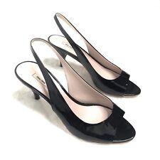 618cb249147 Miu Miu Black Patent Leather Peep Toe Sling Back Kitten Heels Sz 35 5