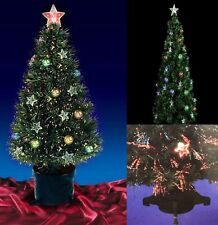 4/5/7ft Green Fibre Optic Star & Baubles Pre Lit Christmas Tree Xmas Black Base